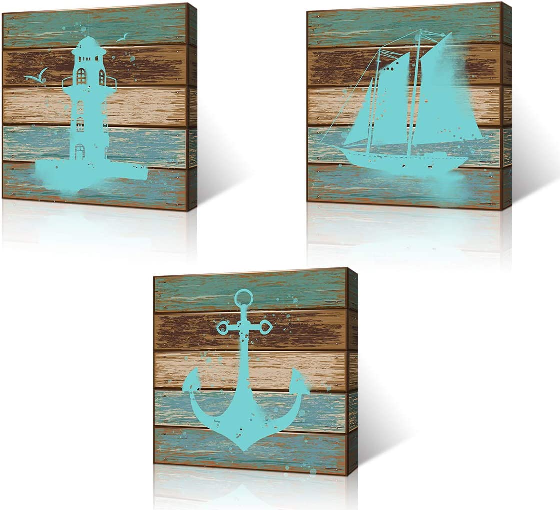VVOVV Wall Decor Nautical Canvas Wall Art Navigation Lighthouse Anchor Sailingboat Painting Art Prints on Canvas with Inner Wood Frame Ready to Hang (12x12inchx3pcs, Anchor-1)