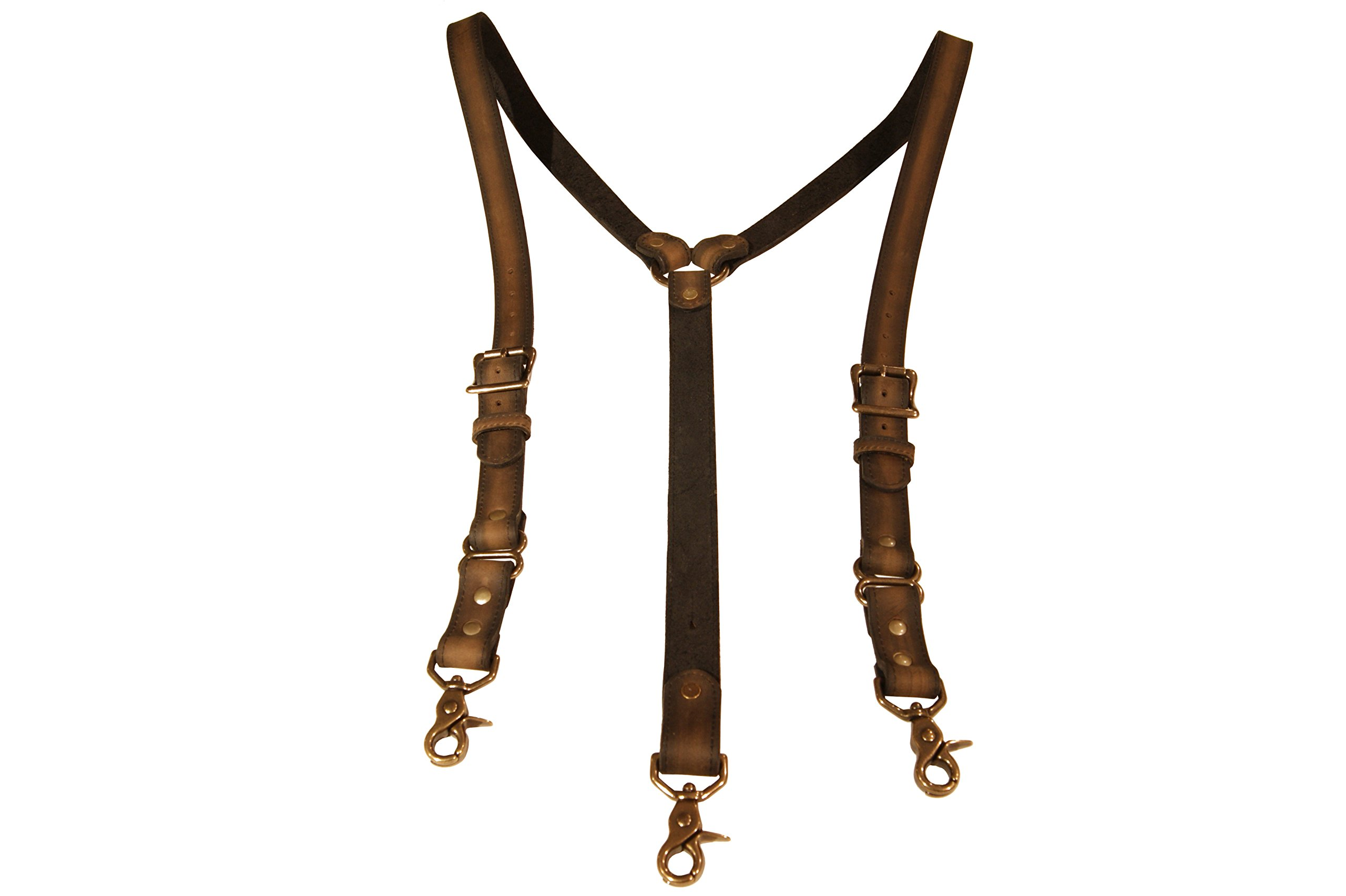 Distressed Brown Men's Double Thick Leather Suspenders by Project Transaction (XL)