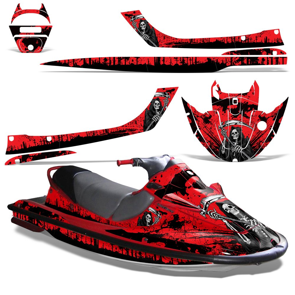 Kawasaki STX1100 Sport Tourer 1997-1999 Decal Graphic Kit Jet Ski Wrap STX 1100 REAPER RED by Wholesale Decals (Image #1)
