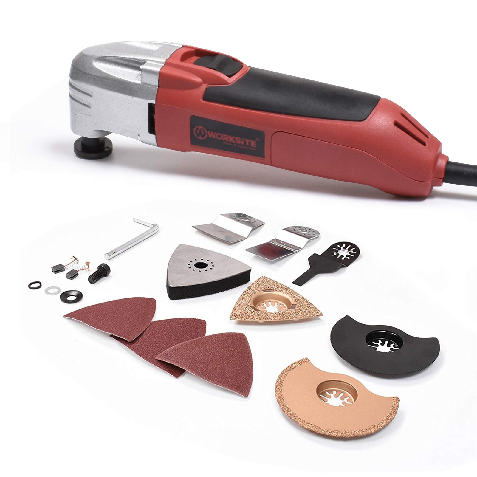 WORKSITE DMT122 Oscillating Multi-Tool with Carbide Grout Blade, Half Moon Saw Blade, Triangular Carbide Grit Rasp Blade, Rigid Scraper Blade, Triangular Sanding Pad for Shoveling, Sanding, Cutting
