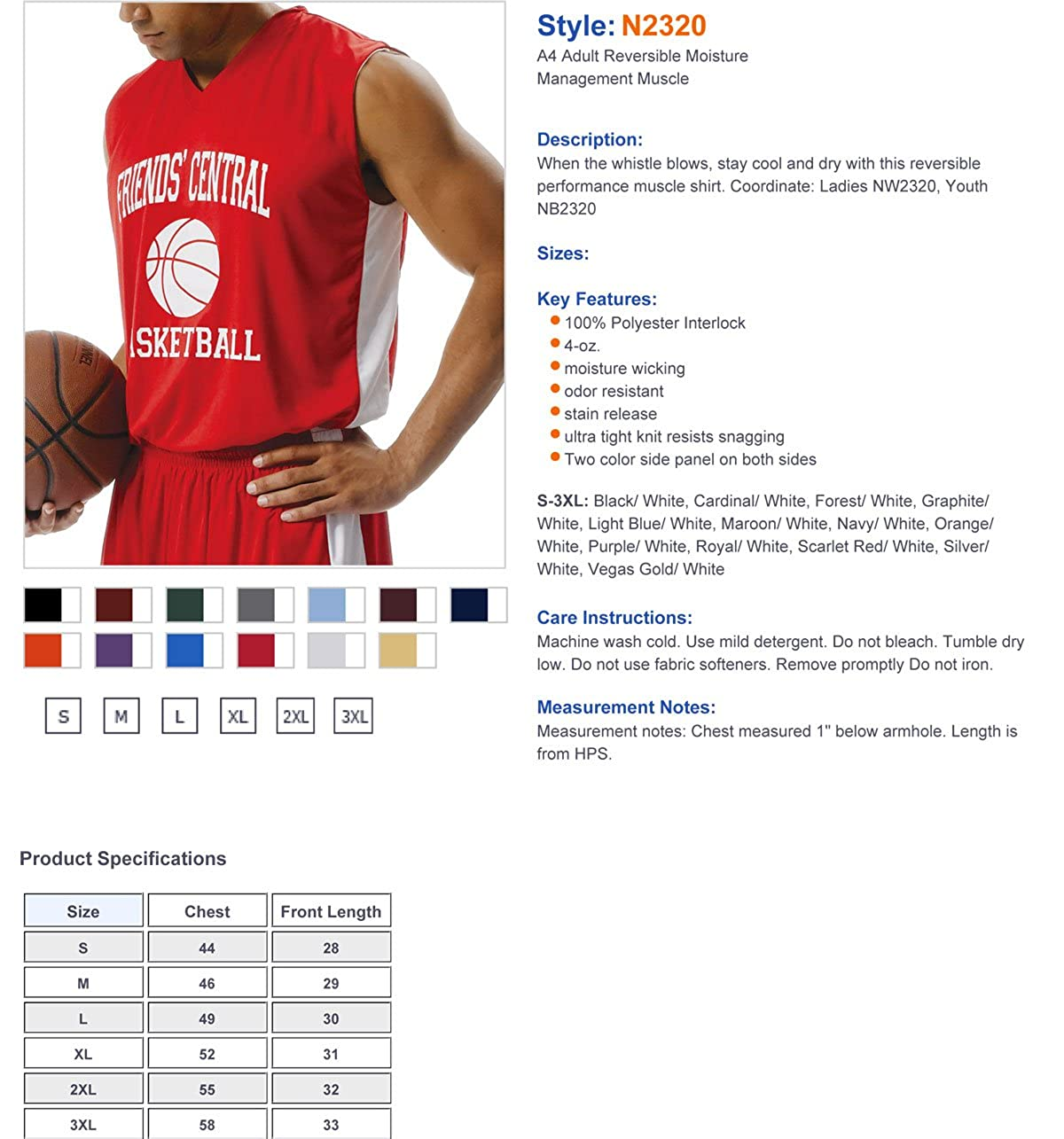 A4 Men's Men's Men's Reversible Moisture Management Basketball Jersey 2d5278