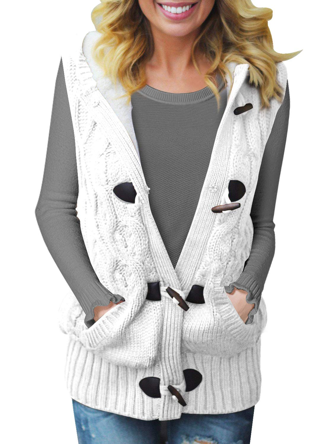 SIDEFEEL Women Hooded Sweater Vest Cable Knit Cardigan Outerwear Coat XX-Large White by SIDEFEEL