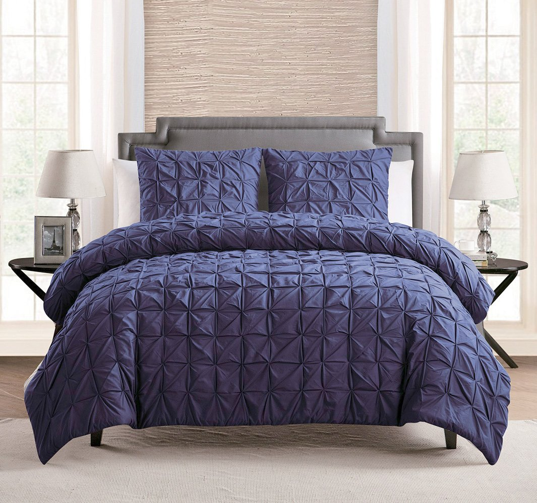 Amazoncom COTTON Piece Solid GREY Pinch Pleat Duvet - Blue solid color king size comforter