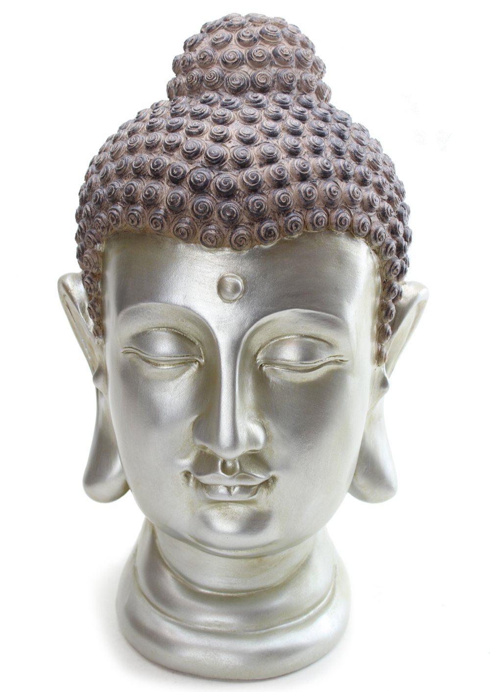 We pay your sales tax LARGE 12'' Tall Buddha Shakyamuni Head Statue - Smiling Meditating Buddha Blessing Mercy & Love Peaceful Statue India (G16631) Chinese Feng Shui Idea