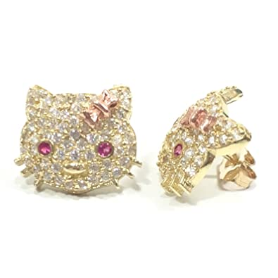 Amazon Com New 10k Yellow Gold 15 Mm Wide Hello Kitty Stud Earrings