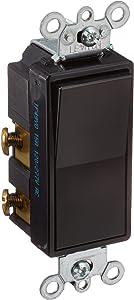 Leviton 5604-2E 15 Amp, 120/277 Volt, Decora Rocker 4-Way AC Quiet Switch, Residential Grade, Grounding, Black