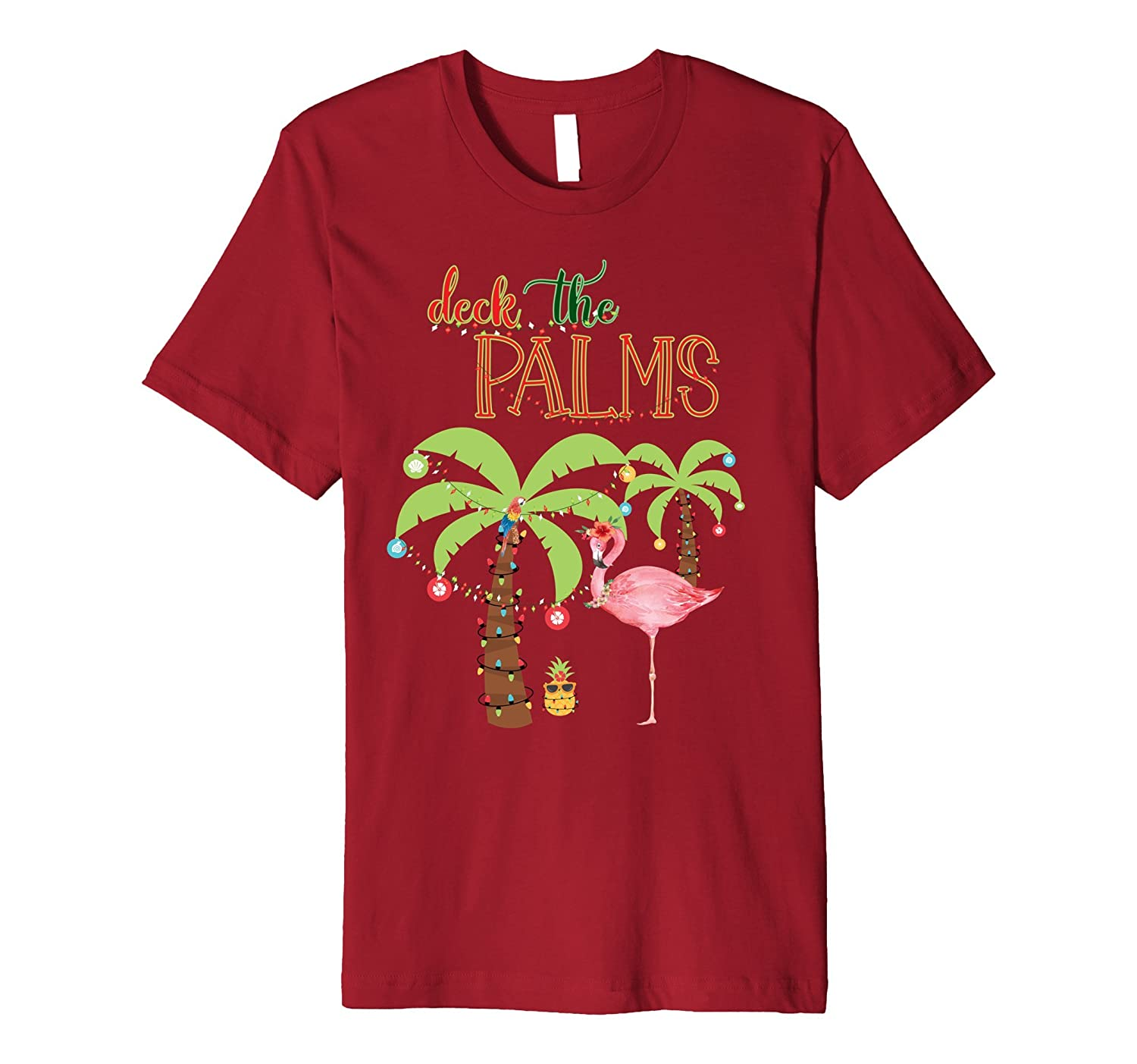 Tropical Christmas T Shirt-Flamingo-Family Holiday Vacation-ANZ