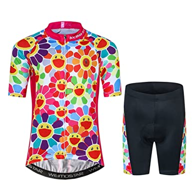 Amazon.com  Kids Cycling Jersey Set with 3D Padded Shorts Cartoon Bike Top   Clothing 908379c71