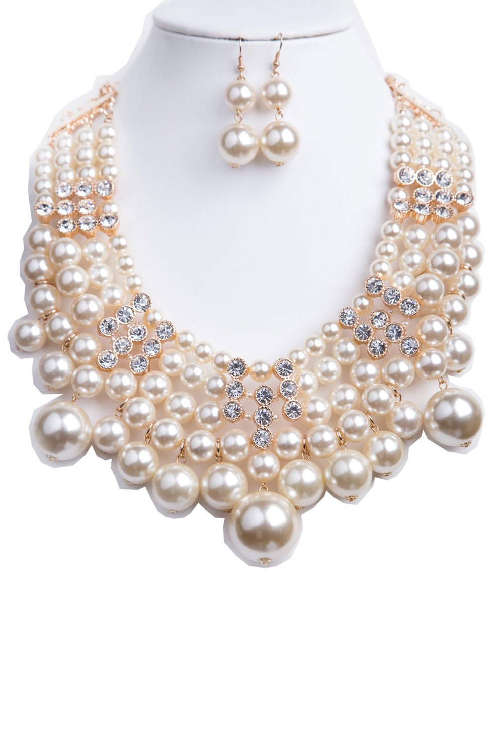 StyleNo1 {CN0467 WOMEN'S FASHIONABLE PEARL AND CRYSTAL NECKLACE WITH STONE BAR AND EARRINGS SET - Designed In USA (CREAM)