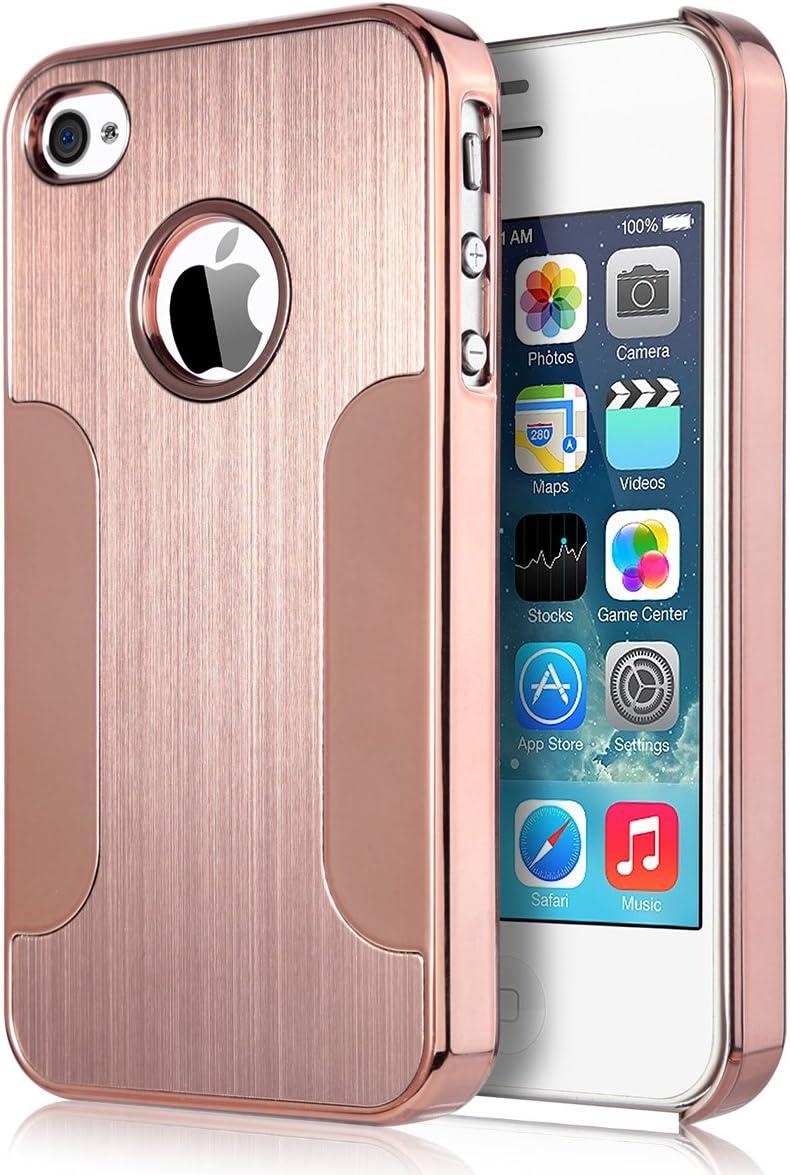 ULAK Coque iPhone 4S, iPhone 4 Coque Rigide Hybride avec Dos en métal brossé PC pour iPhone 4S/4(Or Rose)