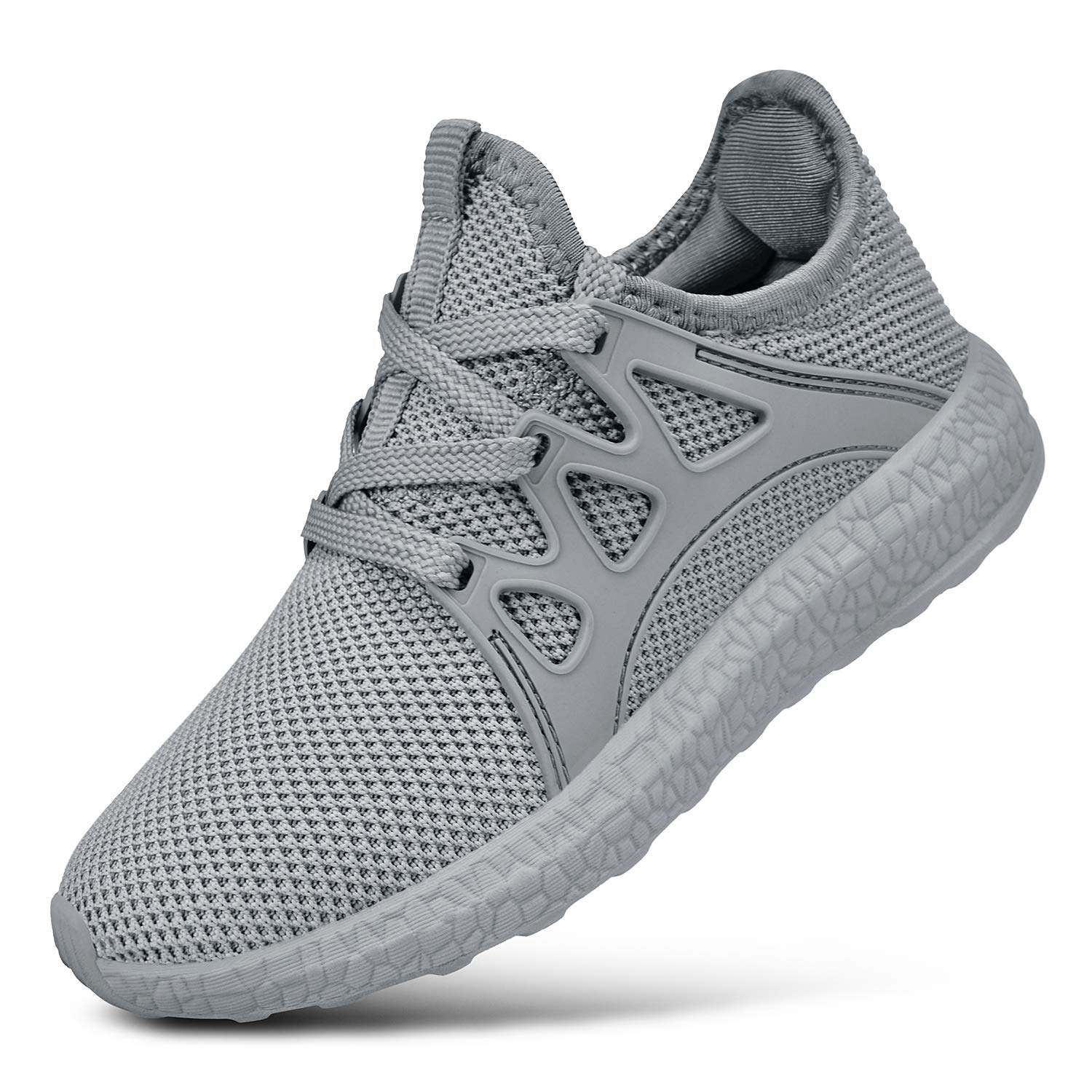 SouthBrothers Boys Shoes Lace Up Breathable Girls Sneakers for Kids Gray Size 1.5 M US Little Kid