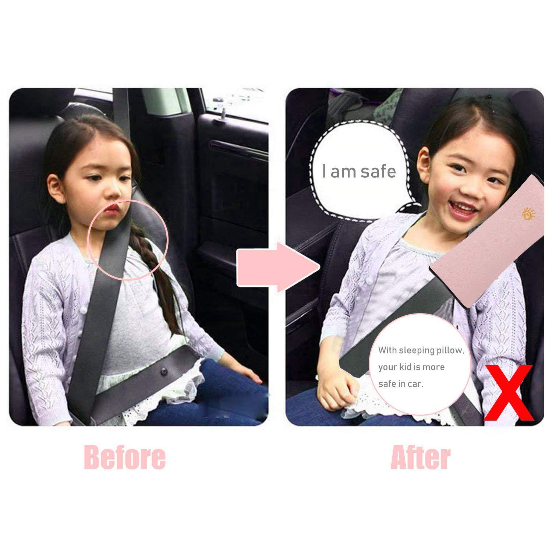 Gurtpolster Auto Kinder Gurtschutz Gurtverlängerung Schlafkissen für das Auto Kissen Kind Schulterpolster Sicherheitsgurt Gurtschutz 2 Stück