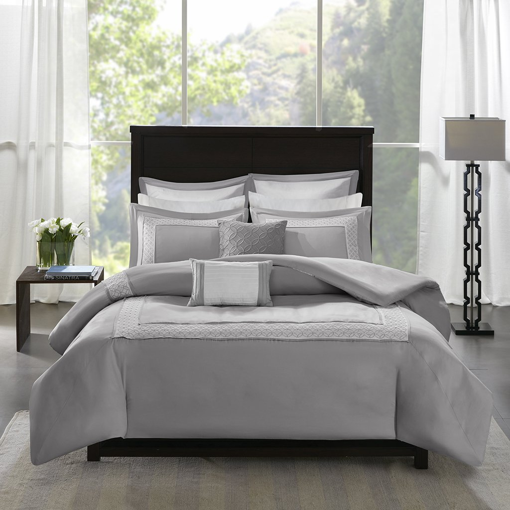 Madison Park Stratford Queen Size Bed Comforter Set Bed In A Bag - Grey, Geometric – 8 Pieces Bedding Sets – Ultra Soft Microfiber Bedroom Comforters