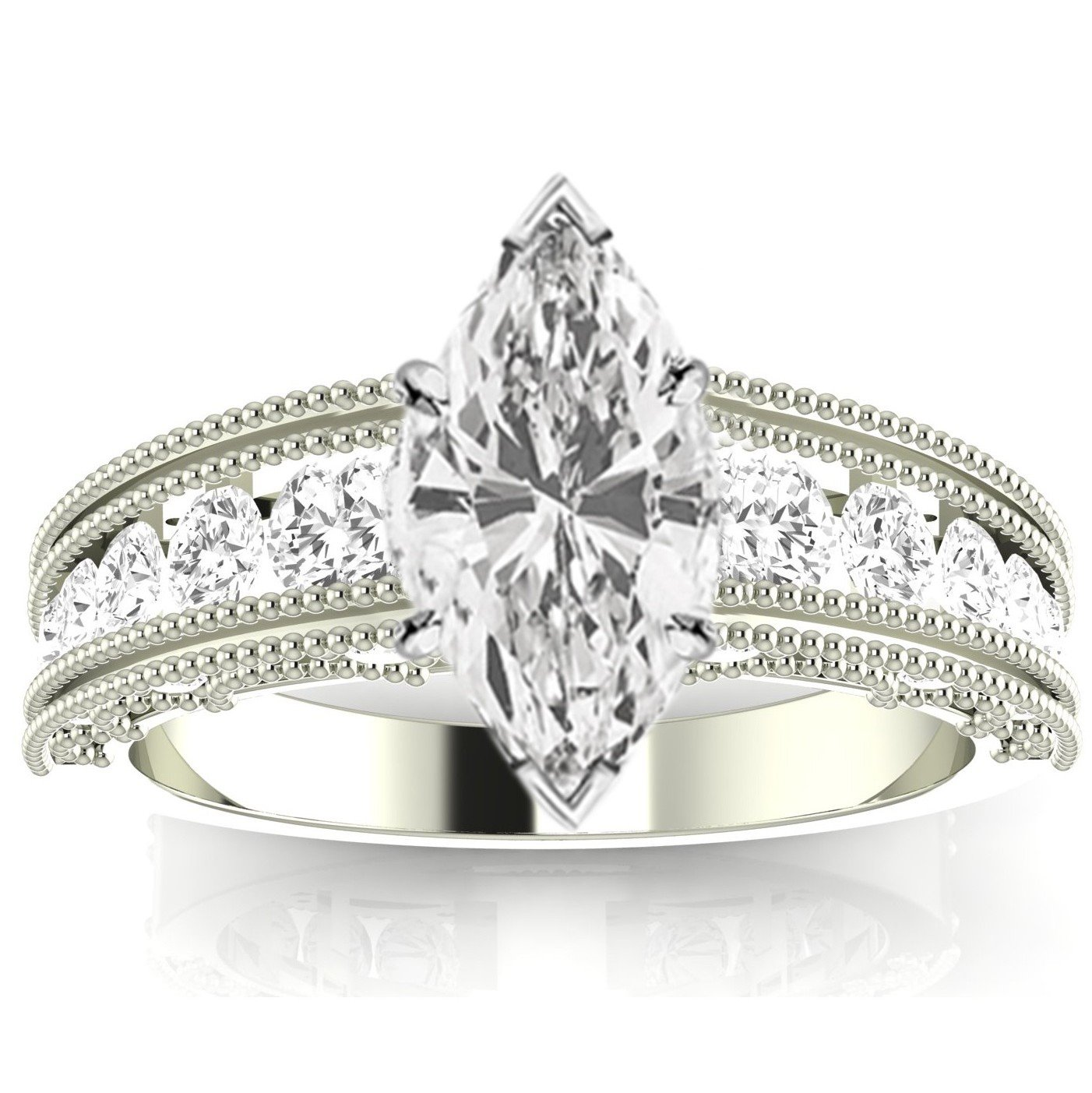 2.1 Carat t.w. 14K White Gold Antique / Vintage Style Channel Set Round Diamond Engagement Ring with Milgrain with a 1.5 Ct Forever Classic Marquise Moissanite Center