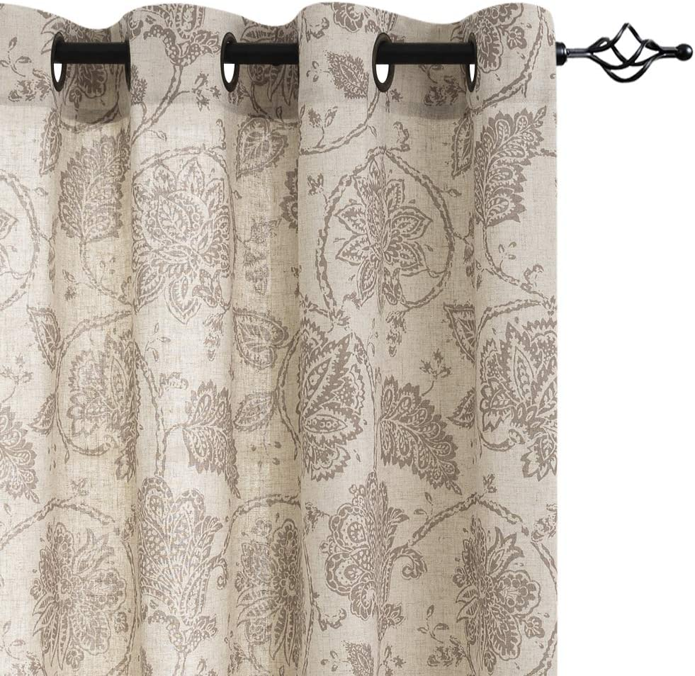 """jinchan Floral Scroll Printed Linen Curtains, Grommet Top - Ikat Flax Textured Medallion Design Jacobean Curtains Retro Living Room Curtain Sets (Taupe, 50"""" x 84"""", 2 Panels)"""
