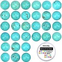 100 cuentas de cristal natural de piedras preciosas redondas sueltas para curación de energía con cordón elástico de cristal para hacer joyas, Turquoise, 8MM, 1