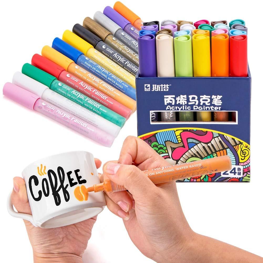 Vann92 12/24 Color Acrylic permanent art marker pen waterproof photo album album graffiti pen paint brush water color pen