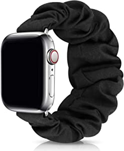 JIELIELE Compatible with Scrunchie Apple Watch Band 38mm 40mm 42mm 44mm, Cute Elastic Wristbands for Women, Stretchy Strap Iwatch Bands for Apple Watch Series SE 6 5 4 3 2 1 (S-38/40 Black)