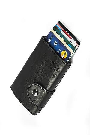NeroAvorio Tarjetero para Tarjetas de Crédito, Bloqueo RFID, Monedero Fino Aluminio y Cuero, Negro, Minimalista, Sistema Pop-UP para 6 Tarjetas, con ...