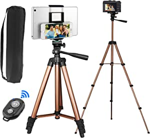 PEYOU Compatible for Ipad iPhone Tripod, 50 Inch Extendable Lightweight Aluminum Smartphone Camera Tablet Tripod Stand for Video + Wireless Remote + 2 in 1 Phone/Tablet Tripod Mount Holder