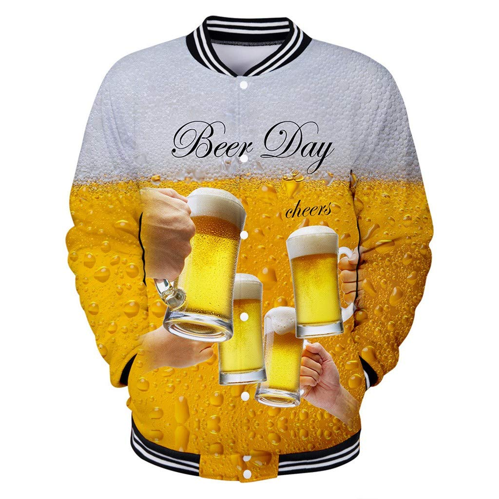 Men's 3D Print Long Sleeve, NDGDA Male Beer Printing Festival New Style Sport Shirt Button Baseball Suit Yellow by NDGDA 🔰 Men's Jacket & Coat