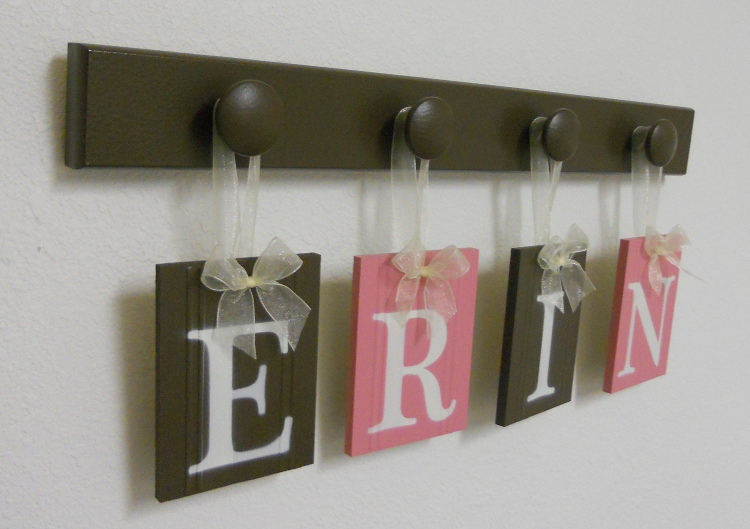 Amazon Com Pink And Brown Nursery Decorating Ideas Baby Girl Nursery Decor Custom Wooden Wall Letters With Peg Hooks Handmade And Painted Pink And Chocolate Brown Handmade