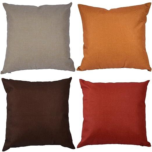 Kate 4 Paquetes Simple Color sólido Decorativos Funda de Almohada marrón diseño de Manta Funda de Almohada Fundas de cojín para casa decoración Gris ...