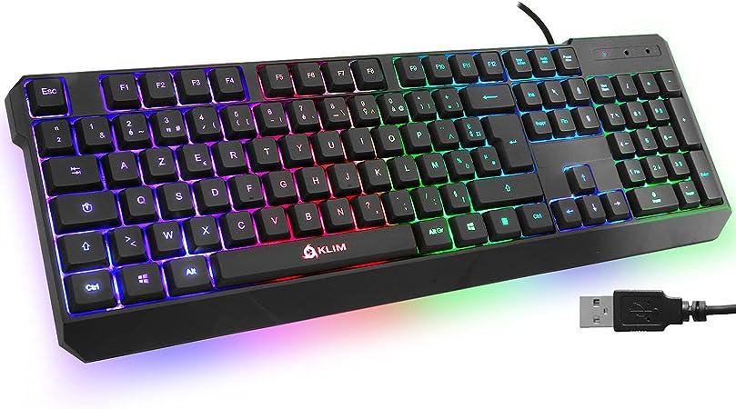 ⭐️KLIM Chroma Teclado Gaming AZERTY USB – Alto Desempeño – Retroiluminación a Color Estilo Gaming – Teclado para Juegos PC PS4 Windows, Mac - Nueva ...