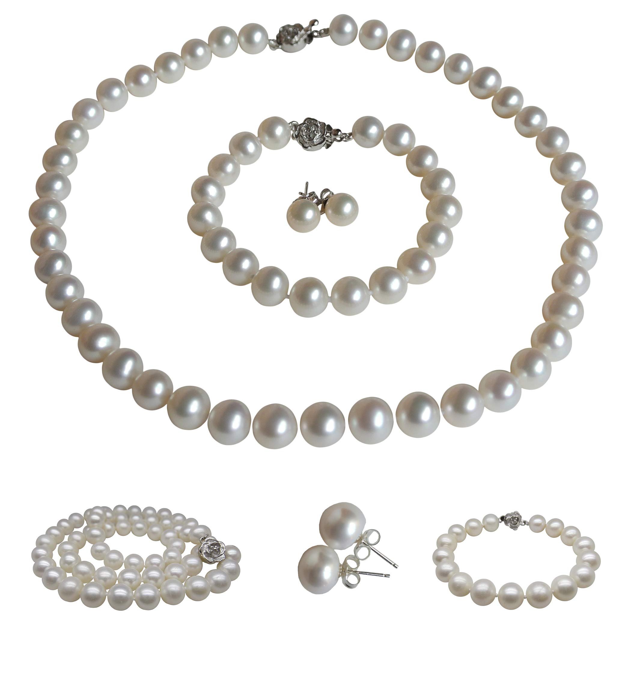Pearl Romance Choker 16'' inch 3pc Set Cultured Round White Strand Pearl Necklace Bracelet Stud Earrings Genuine Freshwater 6mm 7mm 8mm 9mm 10mm 11mm (7.0-7.5mm)