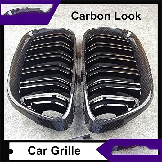 Color : Glossy Black For F22 Carbon ABS avant look Grille Fit for Bmw S/érie 2 F22 F23 ligne double brillant//M Couleur Kidney Grill Grille 2014-2016
