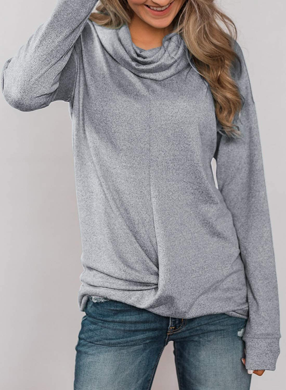 Asvivid Womens Cute Long Sleeve Cowl Neck Soft Pullover Sweatshirt Casua Loose Tunic Tops Shirt Blouses Hoodie Plus Size 1X Grey