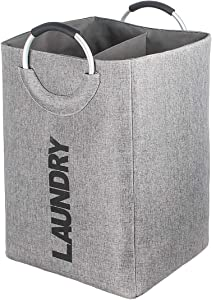CORESLUX Laundry Hamper Bag with Handle, 2 Section Collapsible Laundry Basket, Self-Standing Dirty Clothes Basket for Dorm Room Washing Storage - Grey