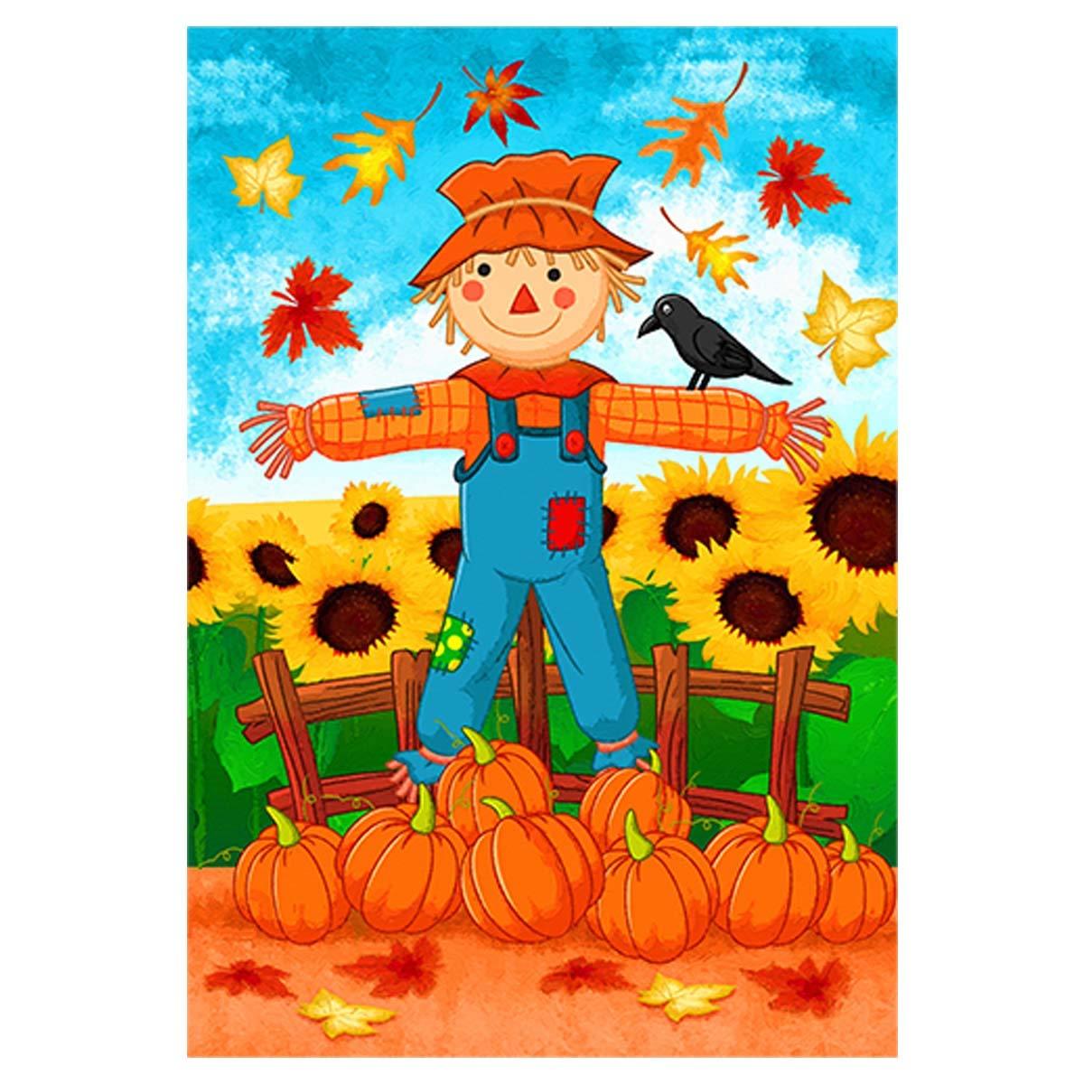 Morigins Fall Y'all Scarecrow Harvest Flag Autumn Sunflower Garden Flag Double Sided 12.5 x 18 Inch