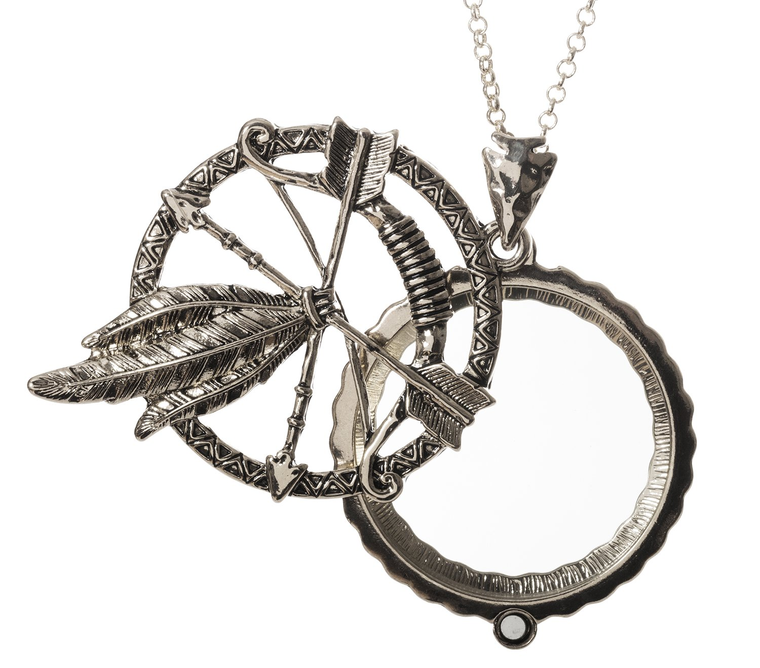 Arrow Feather 4x Magnifier Magnifying Glass Sliding Top Magnet Pendant Necklace, 30'' (Silver Tone)