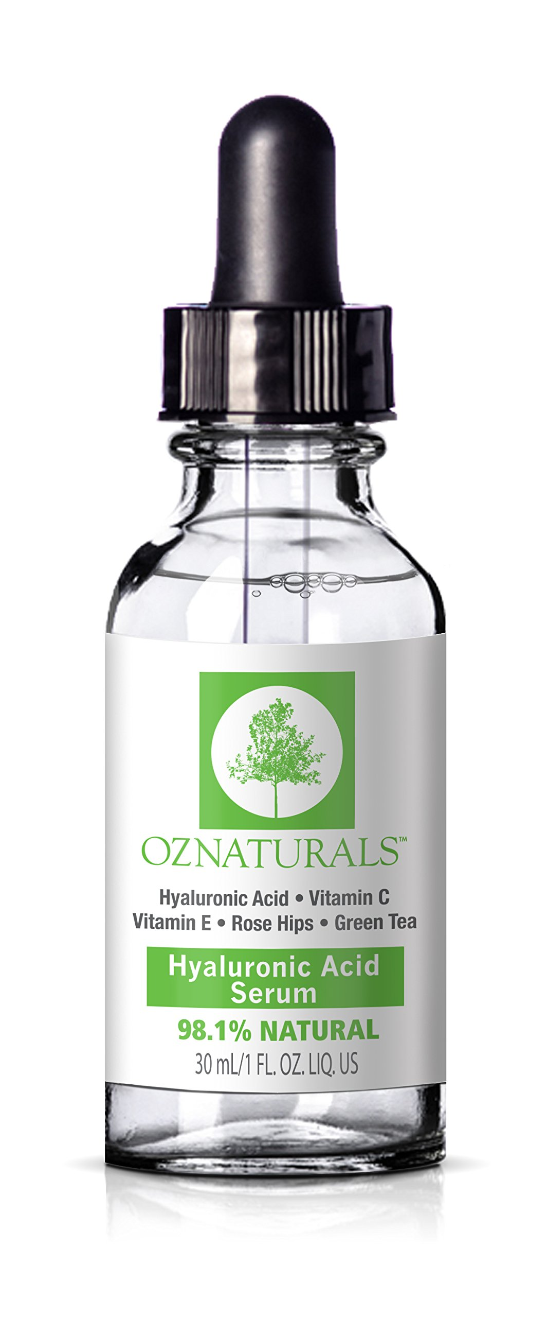 OZNaturals Hyaluronic Acid Serum For Face - Anti Aging Anti Wrinkle Serum Hyaluronic Acid With Vitamin C. Best Natural Skin Care to Plump, Hydrate + Diminish Lines + Wrinkles 1 fl. Oz