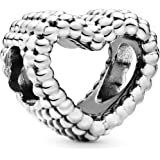 Pandora Jewelry Beaded Heart Sterling Silver Charm