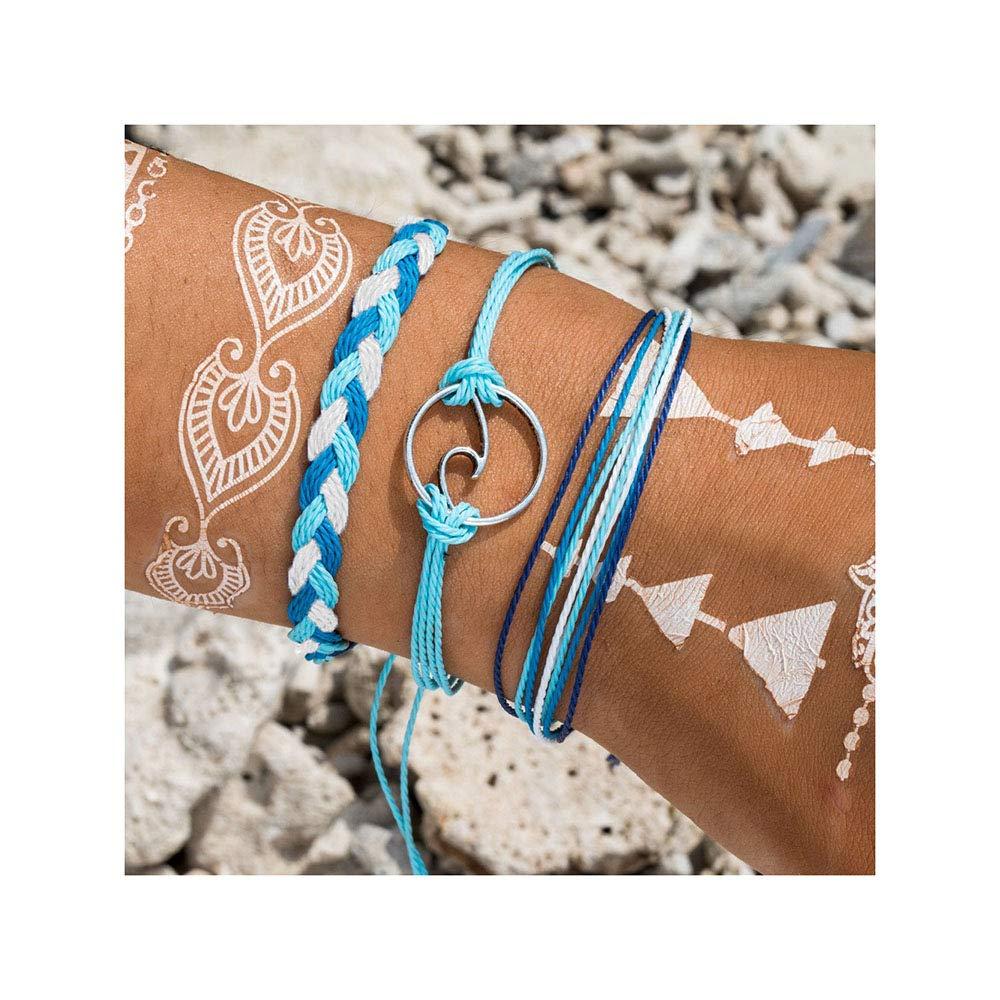 Nager Braided Rope Bracelet Set Handmade Waterproof Wrap Wave Bracelet Boho String Bracelet for Woman Kids