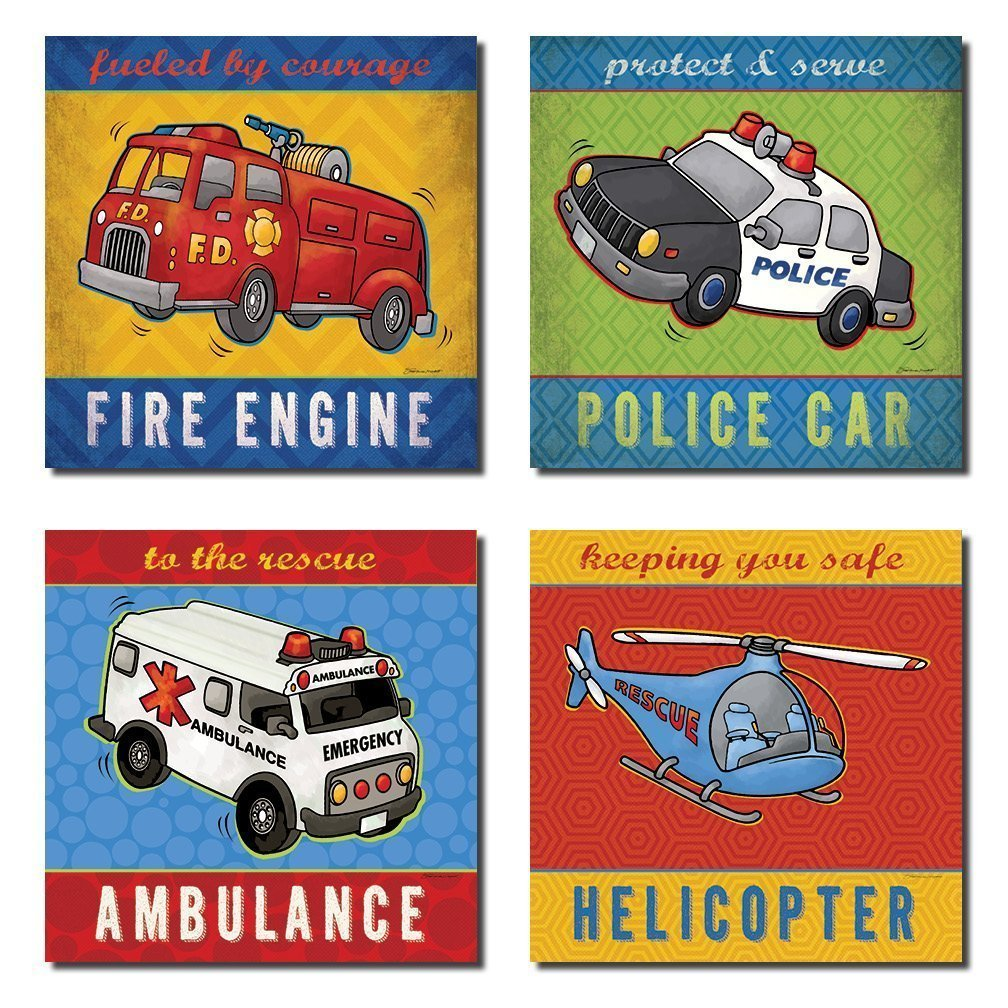 Popular Fire Truck, Ambulance, Helicopter and Police Car; Great for a Childs Room or Nursery; Four 8x8in Poster Print. Blue/Red/Yellow/Green