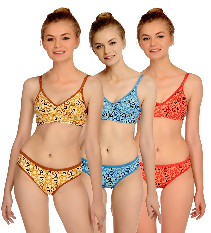 6fcde67f374 Fashion Comfortz Honeymoon Cotton Bra Panty Set for Womens Girls ...
