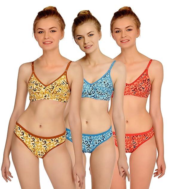74ad528f3e Fashion Comfortz Honeymoon Cotton Bra Panty Set for Womens Girls ...