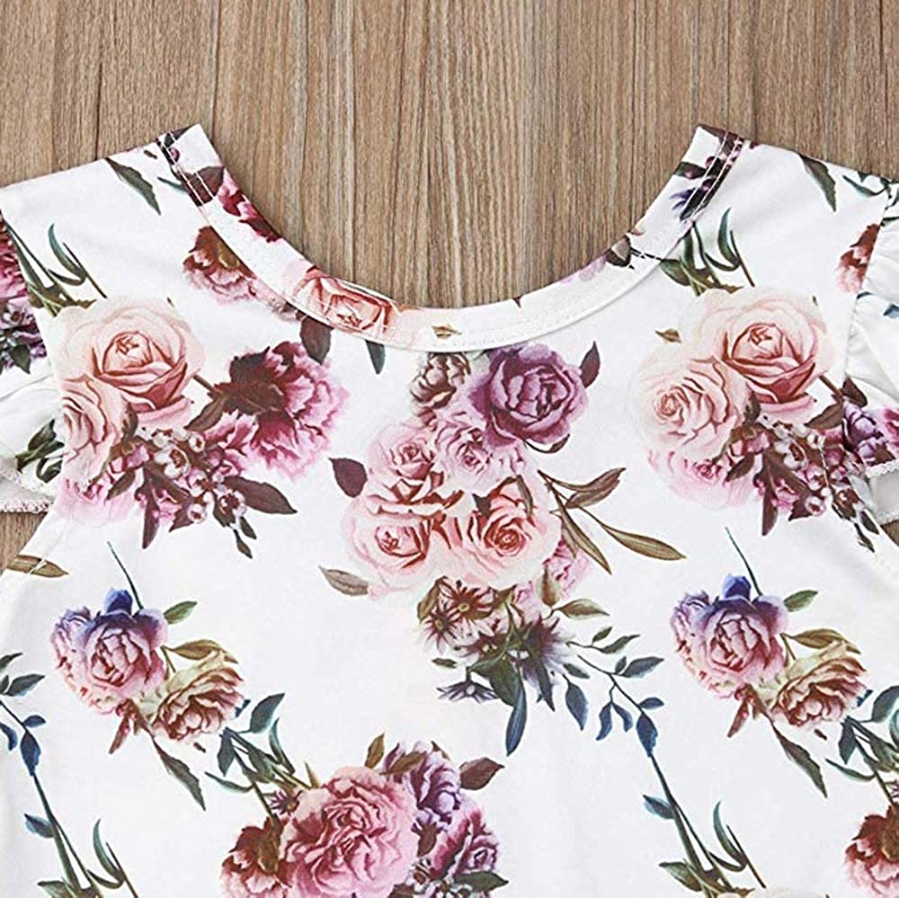 Infant Newborn Baby Girls Short Sleeve Floral Romper Tops Elastic Tutu Skirt Casual Summer Outfit Skirt Sets