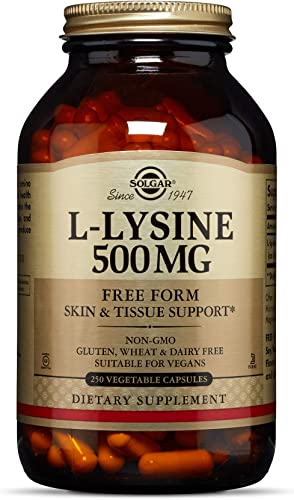 Solgar L-Lysine Vegetable Capsules, 500 mg, 250 Count Supports Healthy Skin and Lips