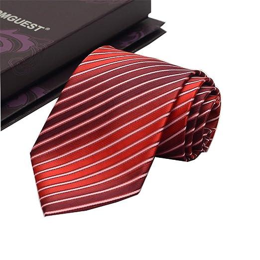 Andre 9 cm Rojo Vino Corbata de la Raya diseño clásico 100% Seda ...