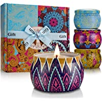 Malivent Scented Candles Gift Set, Natural Soy Wax 4 Oz Candle with Pure Essential Oil, Rose Lemon Lavender and…