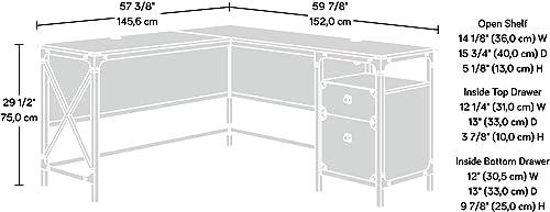 Sauder 423976 Steel River L-Desk, Carbon Oak Finish