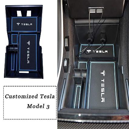Topfit Tesla Model 3 Caja de Almacenamiento para Consola Central Apoyabrazos para coche Caja de Almacenamiento
