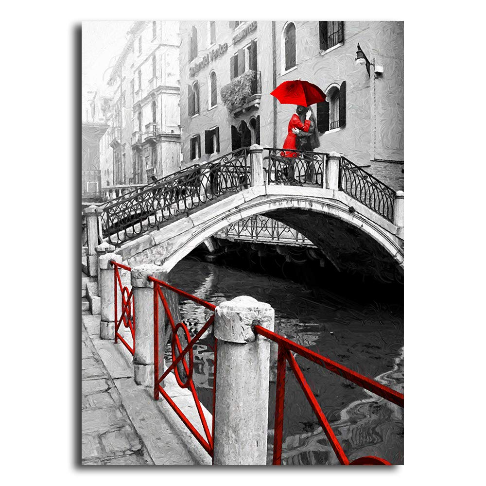 Orlco art black and white pictures with colour red detail a couple under the umbrella oil painting poster for living room art scenery landscape painting