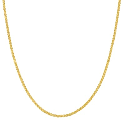 99b862f3a7114 Kooljewelry Solid 14k Yellow Gold 1.25 mm Round Wheat Chain Necklace (16,  18, 20, 24, 30 or 36 inch)