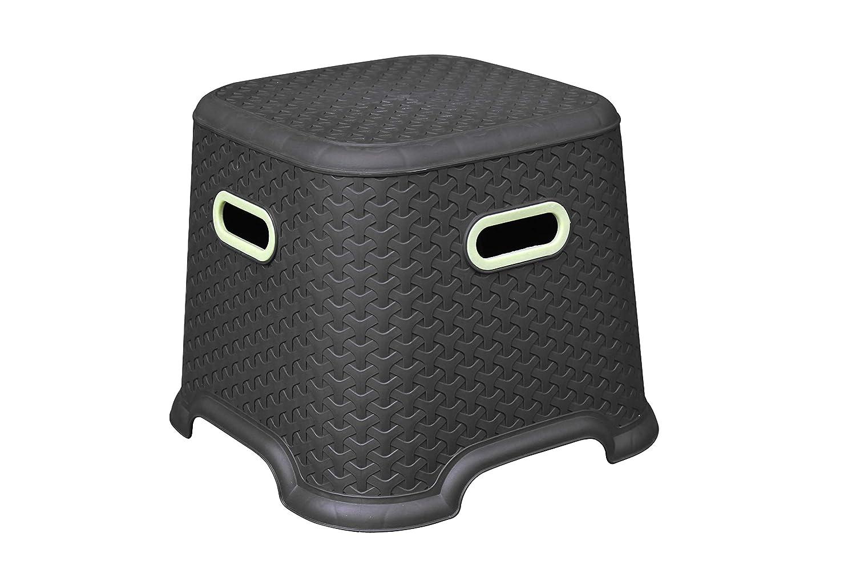Princeware Champ Stool Mat Design (Dimension: 33 x 33 x 27.5 cm) Strong and Sturdy, Dark Brown Colour