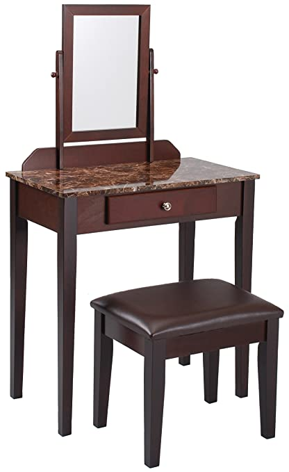 Gentil Crown Mark Iris Vanity Table/Stool, Espresso Finish, Marble Top